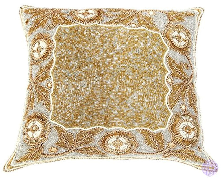 Linen Clubs Floral Border Hand Beaded Decorative Pillow Cover 14X14Square Gold Handmade By Skilled