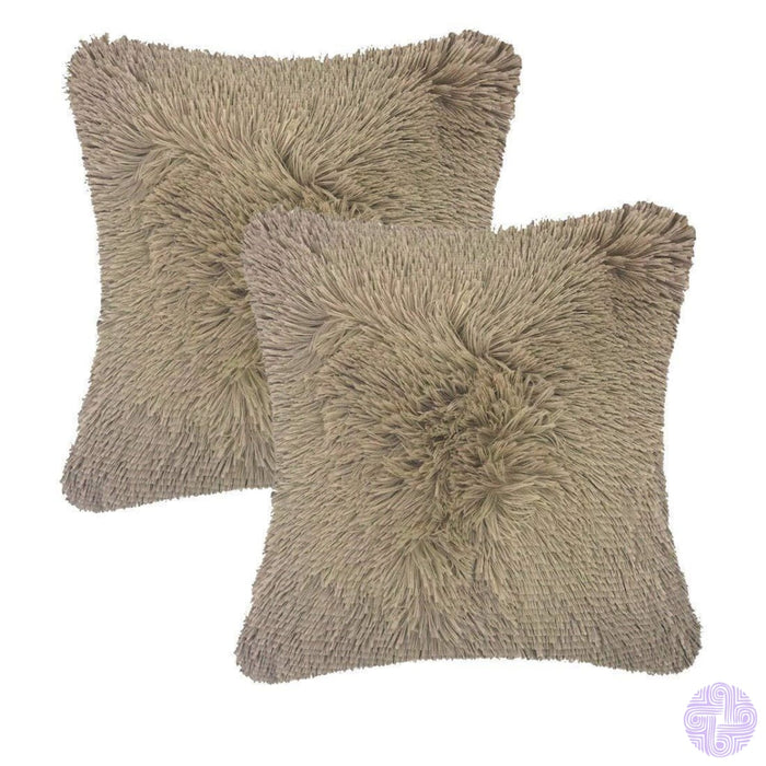 Modern And Shaggy Faux Fur Throw Pillow Cover -Various Colors Beige(2 Pcs)