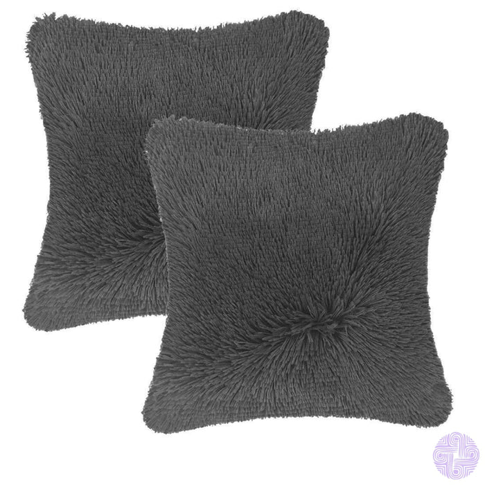 Modern And Shaggy Faux Fur Throw Pillow Cover -Various Colors Gray(2 Pcs)