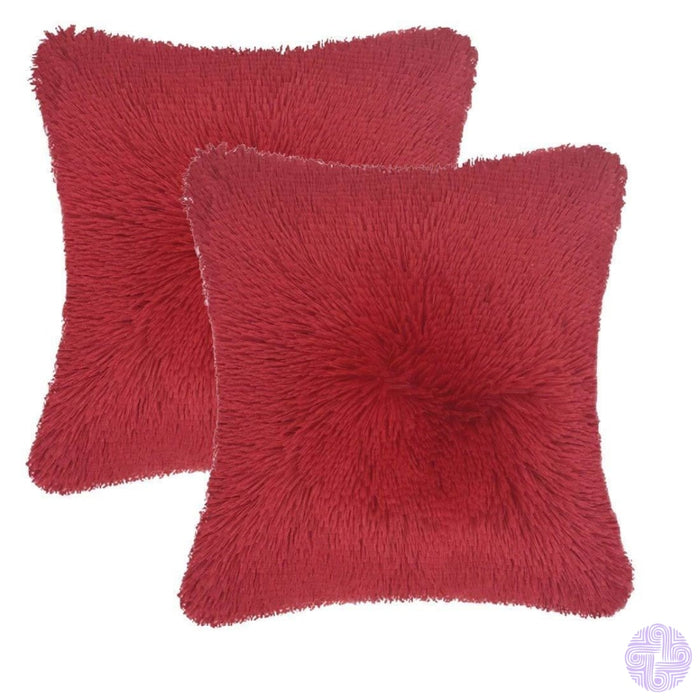 Modern And Shaggy Faux Fur Throw Pillow Cover -Various Colors Rose Red(2 Pcs)