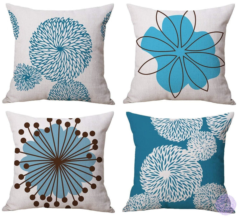 Modern Geometric Print Throw Pillow Covers Blue & White Flower