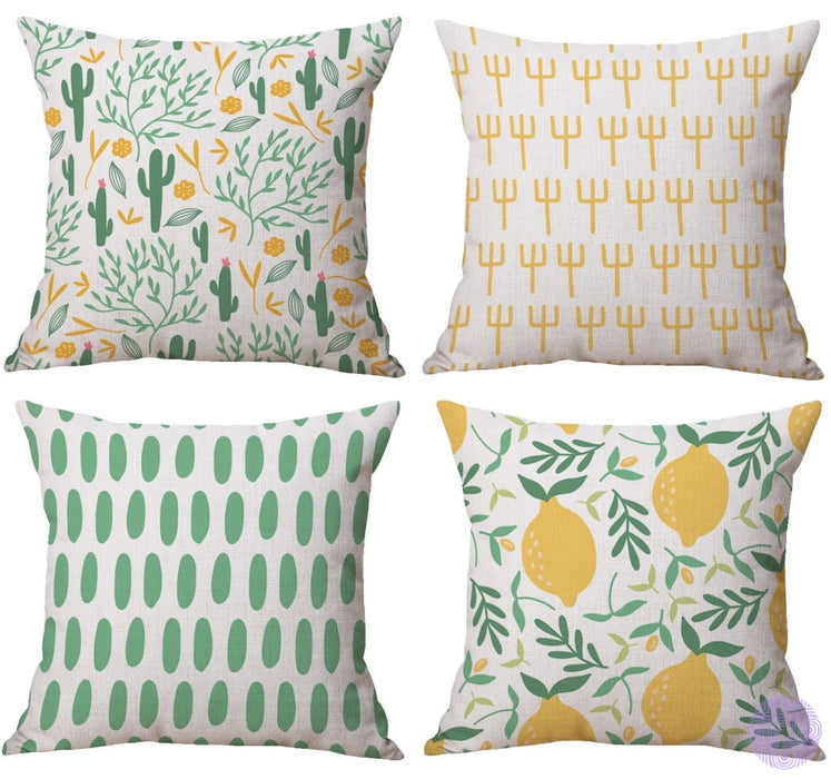 Modern Geometric Print Throw Pillow Covers Cactus And Lemon