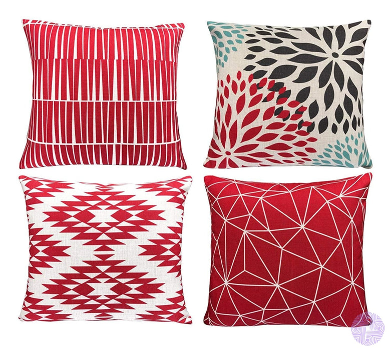 Modern Geometric Print Throw Pillow Covers Coral Red