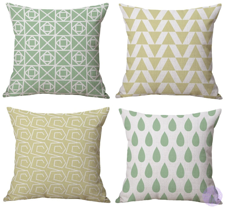 Modern Geometric Print Throw Pillow Covers Light Yellow And Green