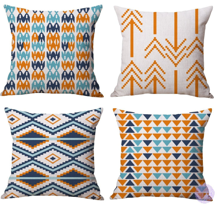 Modern Geometric Print Throw Pillow Covers Orange