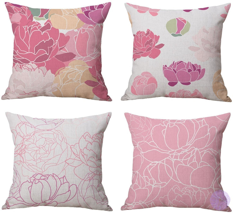 Modern Geometric Print Throw Pillow Covers Pink Peony