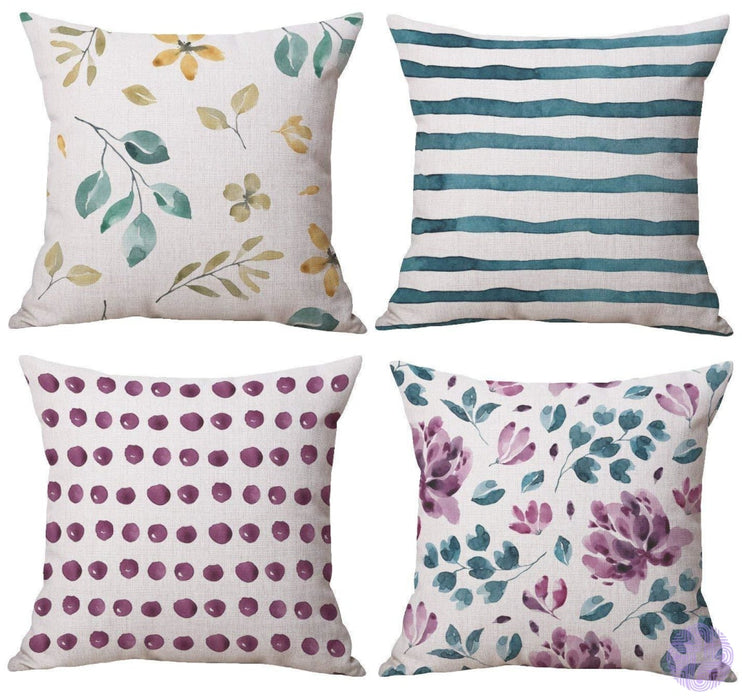 Modern Geometric Print Throw Pillow Covers Watercolor Green & Purple Flower