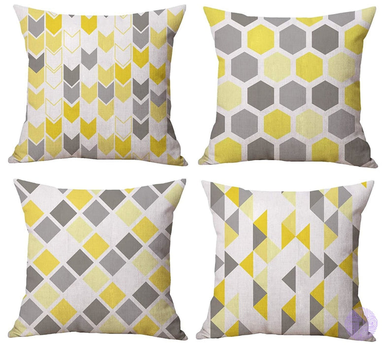 Modern Geometric Print Throw Pillow Covers Yellow Blocks