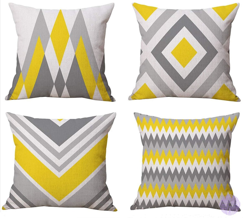 Modern Geometric Print Throw Pillow Covers Yellow-Gray