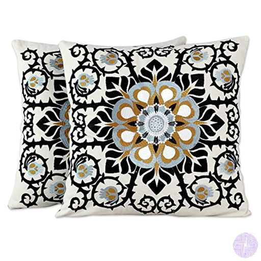 Novica Set Of 2 Embroidered Applique White And Black Floral Cushion Covers Jaipur Blossom