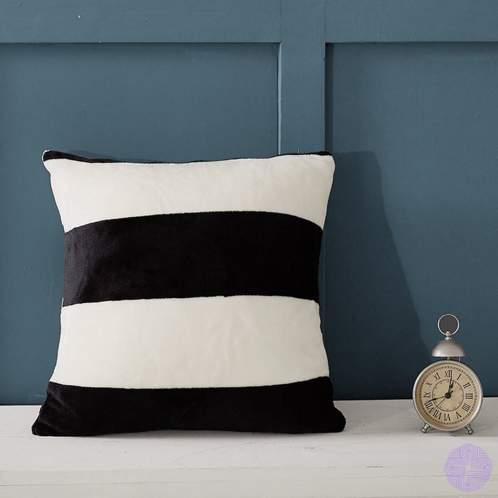 Ntbay Flannel Decorative Throw Pillowcases Cushion Covers Set Of 2 Black And White Striped Pattern