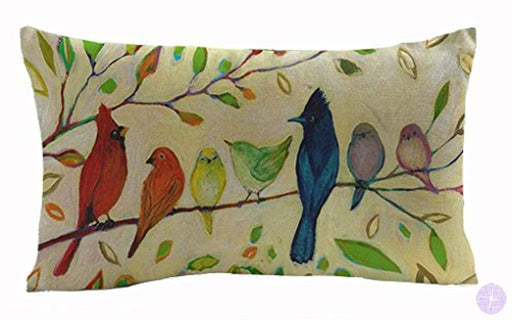 Oil Painting Various Birds Stand On Tree Branch Cotton Linen Throw Lumbar Waist Pillow Case Cushion