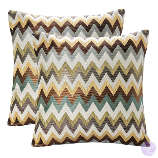Pack Of 2 Simpledecor Jacquard Geometric Links Accent Decorative Throw Pillow Covers Cushion Case