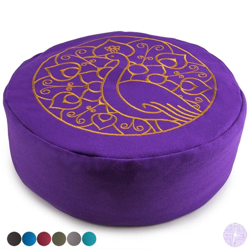Peace Yoga Zafu Meditation Buckwheat Filled Cotton Bolster Pillow Cushion With Premium Designs -