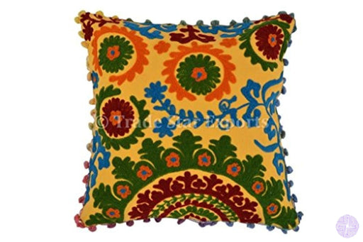 Pom Cushion Covers 16X16 Suzani Pillow Bohemian Cases Decorative Indian Cushions