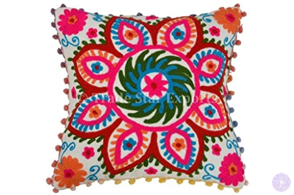 Pom Pillow Cover Suzani Pillows 16X16 Outdoor Cushions Bohemian Cases Decorative