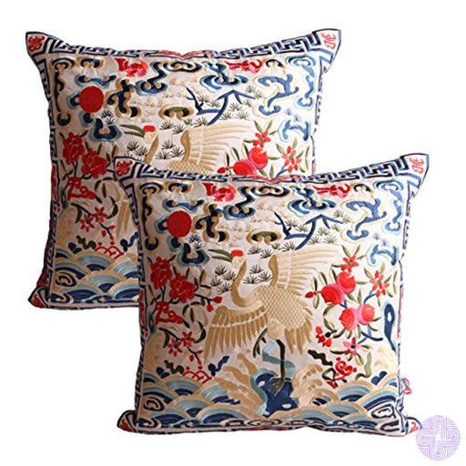 Queenie - 2 Pcs Silky Oriental Chinese Phoenix Embroidered Decorative Throw Pillow Case Cushion