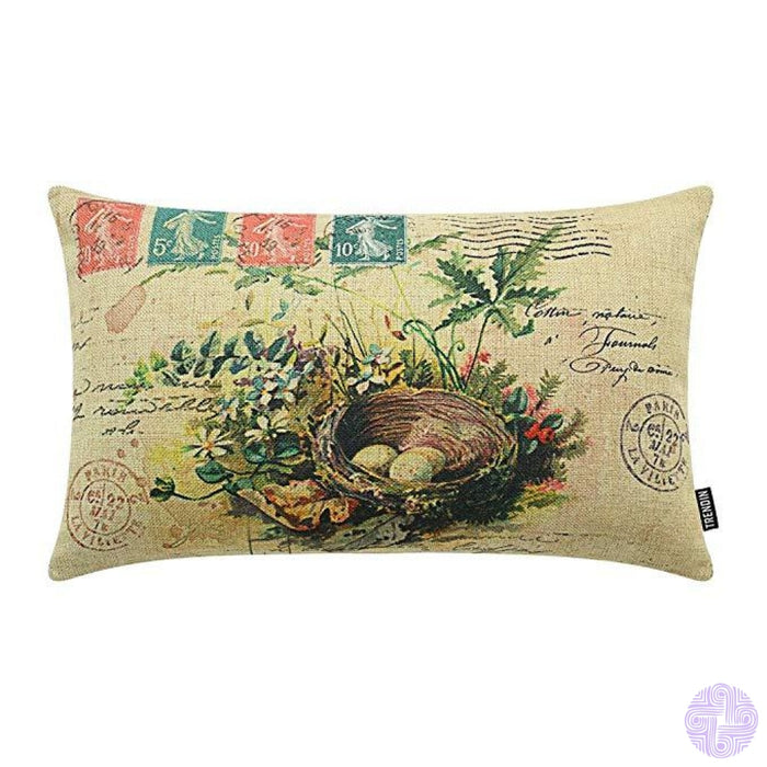 Rustic Bird Accented Throw Pillow Covers Pl096Tr