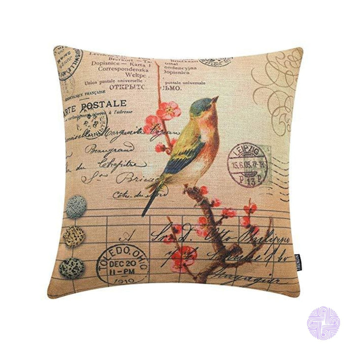 Rustic Bird Accented Throw Pillow Covers Pl100Tr