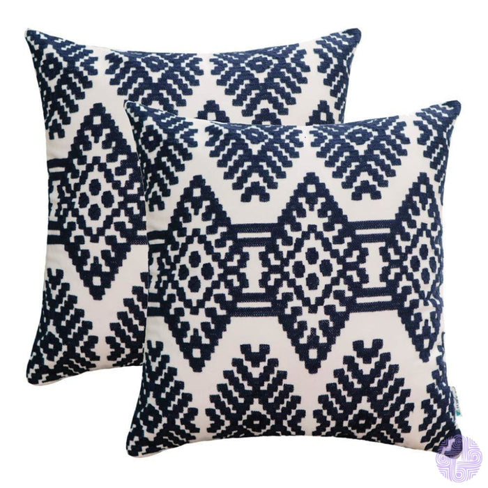 Set Of 2 18 X Retro Inspired Throw Pillow Covers Blue