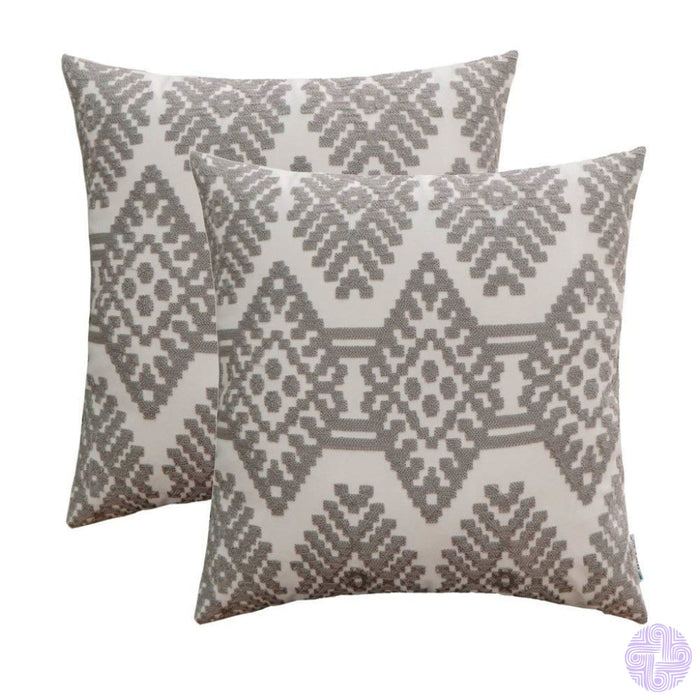 Set Of 2 18 X Retro Inspired Throw Pillow Covers Grey