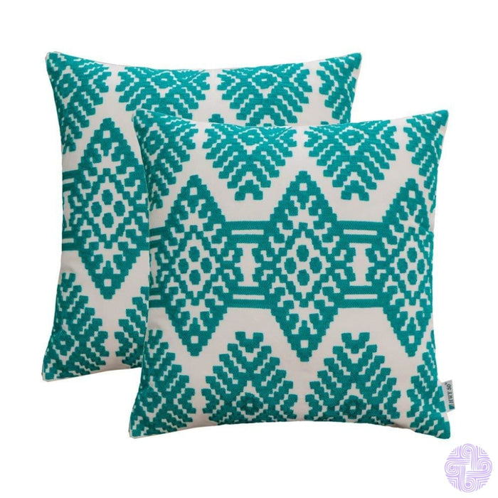 Set Of 2 18 X Retro Inspired Throw Pillow Covers Light Blue