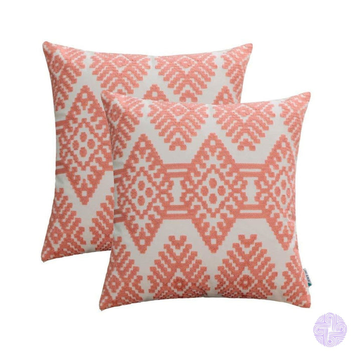 Set Of 2 18 X Retro Inspired Throw Pillow Covers Pink