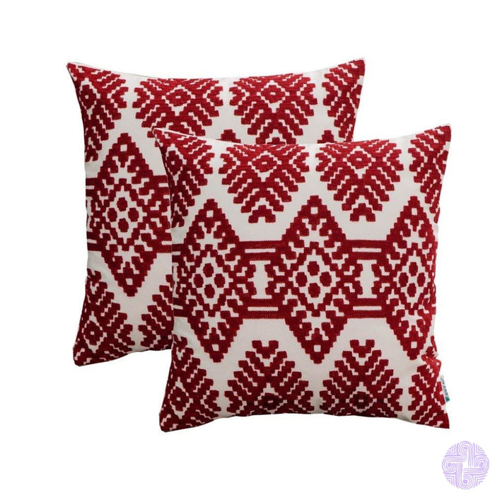 Set Of 2 18 X Retro Inspired Throw Pillow Covers Wine Red