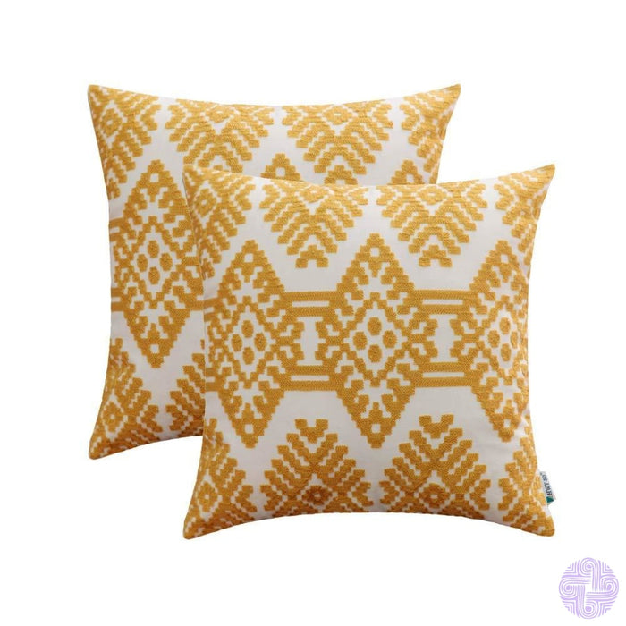 Set Of 2 18 X Retro Inspired Throw Pillow Covers Yellow