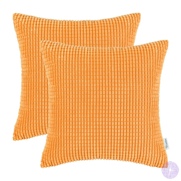 Set Of 2 Corduroy Throw Pillow Covers 18 X Inches / Bright Orange