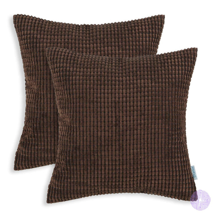 Set Of 2 Corduroy Throw Pillow Covers 18 X Inches / Coffee