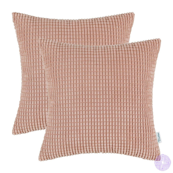 Set Of 2 Corduroy Throw Pillow Covers 18 X Inches / Coral Pink