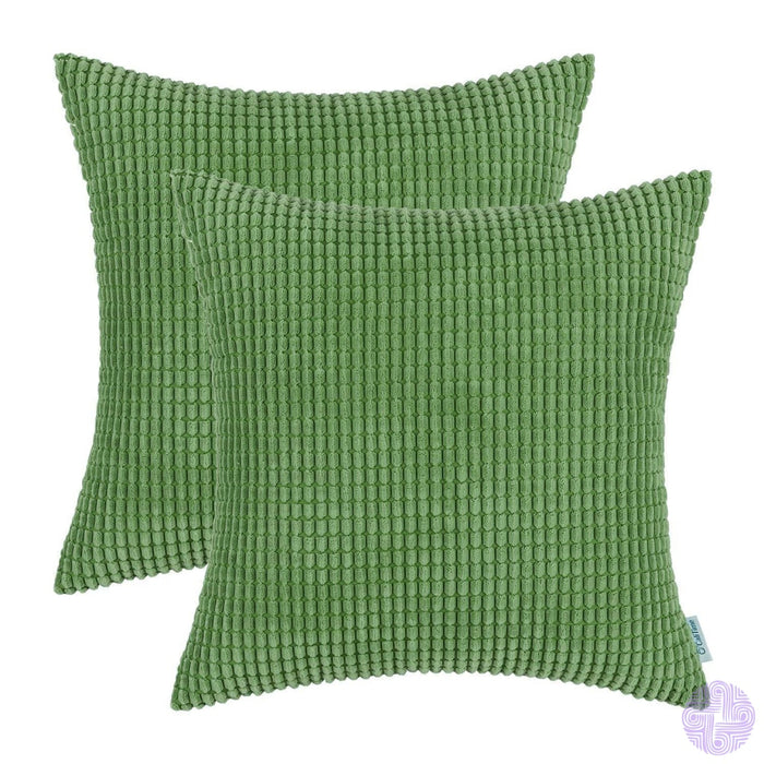 Set Of 2 Corduroy Throw Pillow Covers 18 X Inches / Forest Green