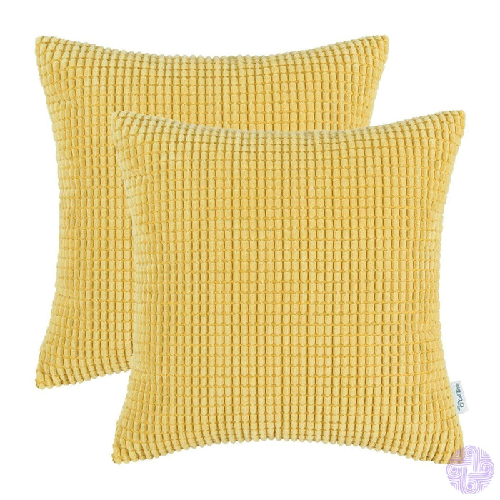 Set Of 2 Corduroy Throw Pillow Covers 18 X Inches / Gold Yellow