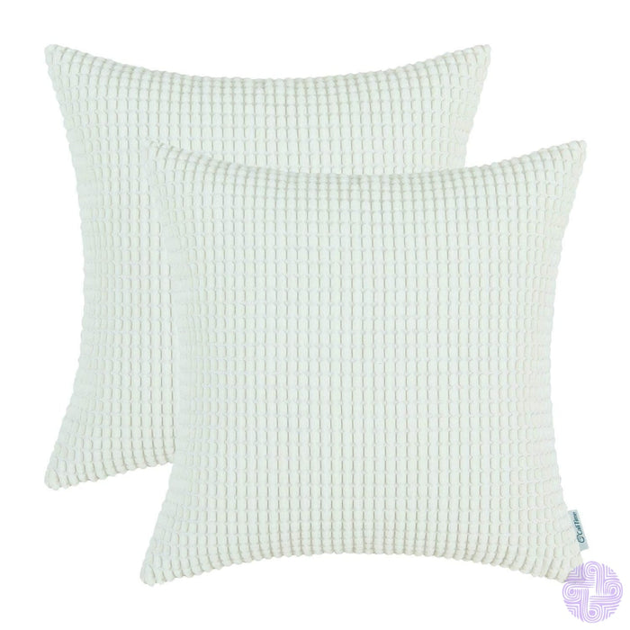 Set Of 2 Corduroy Throw Pillow Covers 18 X Inches / Ivory White