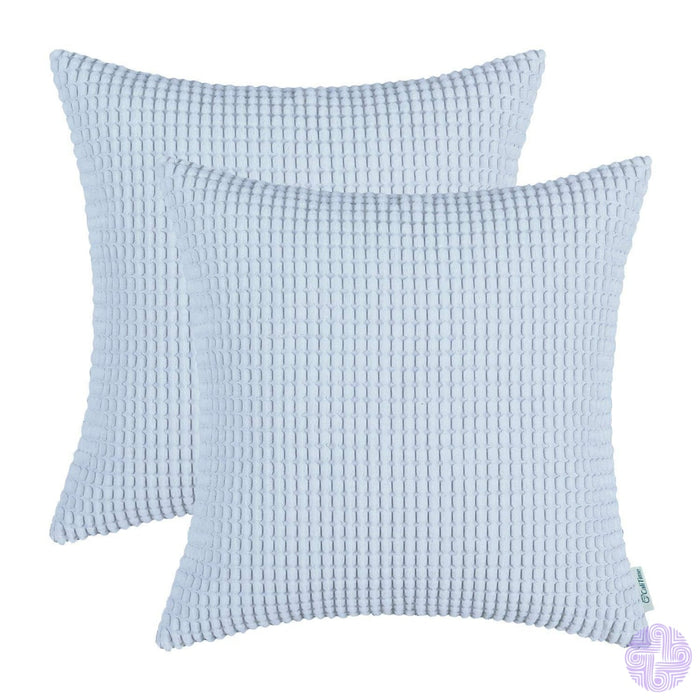 Set Of 2 Corduroy Throw Pillow Covers 18 X Inches / Light Blue