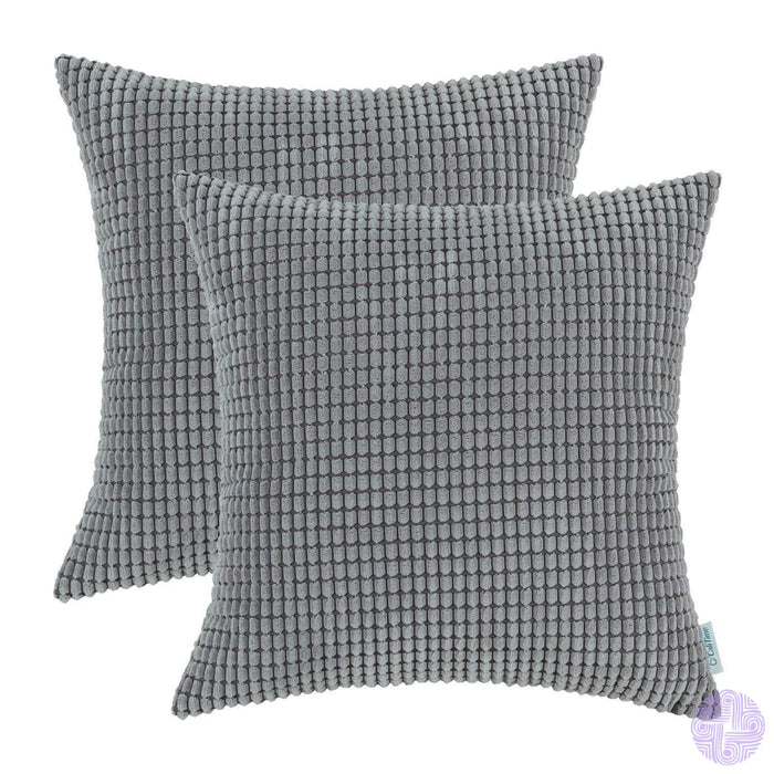 Set Of 2 Corduroy Throw Pillow Covers 18 X Inches / Medium Grey