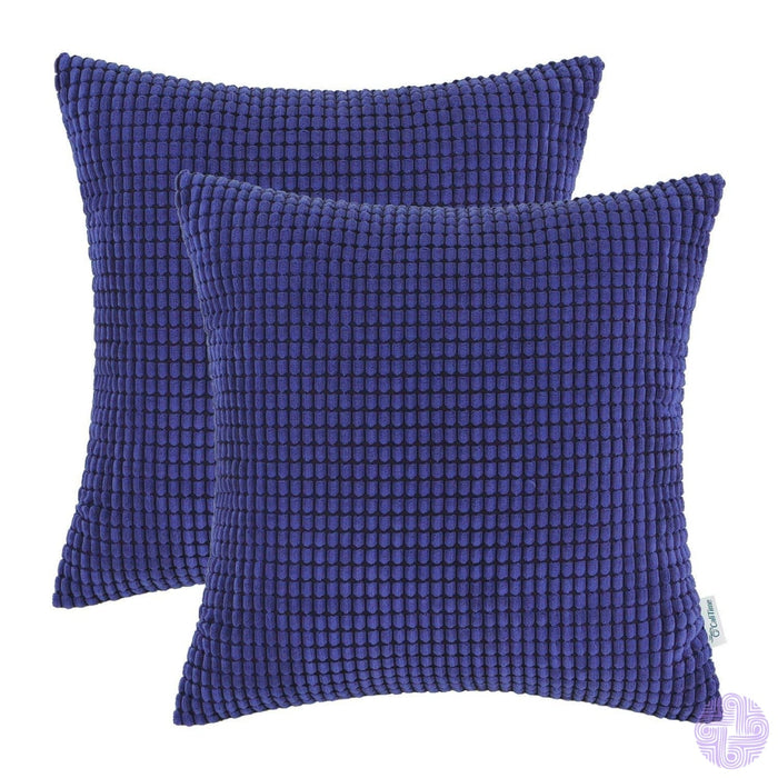 Set Of 2 Corduroy Throw Pillow Covers 18 X Inches / Royal Blue