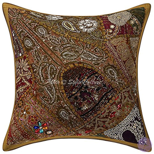 Stylo Culture Indian Beaded Patchwork Sequins Embroidered Cotton Throw 16X16 Pillow Cover Boho