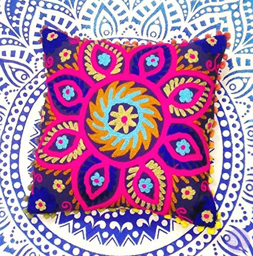 Suzani Pillows Embroidered Cushion Cover 16X16 Decorative Throw Pillow Case Indian Pom Outdoor