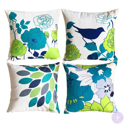 Sykting Sofa Pillow Cases Throw Covers 18 X Pack Of 2 Birds & Flowers Series Cotton Linen Cushion