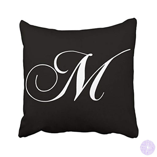 Tarolo Decorative Black White Monogram M Designer Monogrammed Pillow Case Cotton Throw Decor Cushion