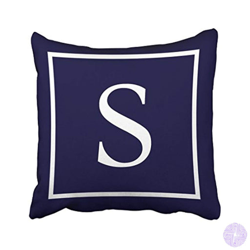 Tarolo Decorative Customize Monogram On Navy Blue Pillow Personalized Monogram S Cotton Throw Pillow