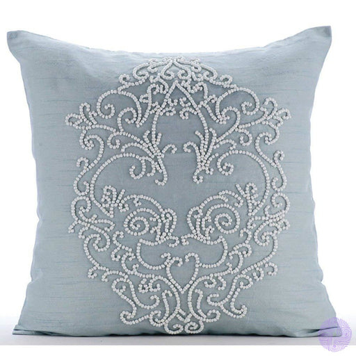The Homecentric Designer Light Blue Pillows Cover Beaded Boroque Damask French Theme 18X18 Throw