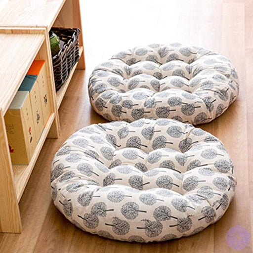Tmjj Cotton & Linen Round Floor Pillow Cushion Japanese Style Futon Seat Thicken Chair Wave Window