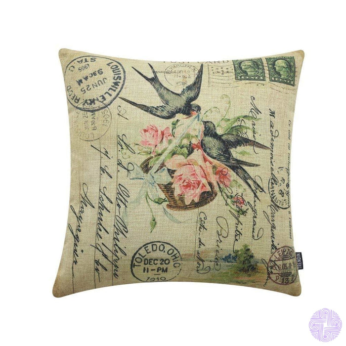 Trendin 20 X 12 Vintage Spring Colorful Birds On Flower Branch Linen Throw Waist Pillow Case Cushion