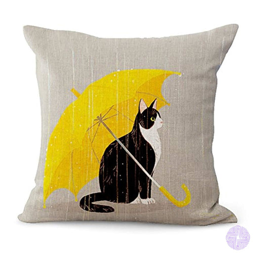 Zeato Pillow Cover Funny Lovely Animals Abstract Adorable [Cat Under Umbrella] Cotton Linen Square