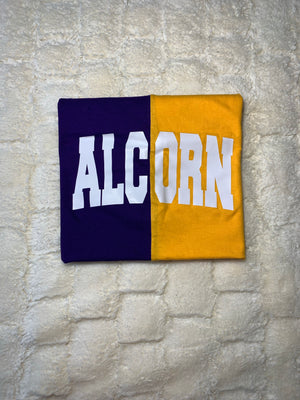 Purple & Gold Short Sleeve Spliced Alcorn University T-shirt