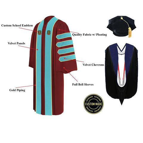 Custom Presidential & Trustee Graduation Tam, Gown and Hood Package - Doctorate Regalia