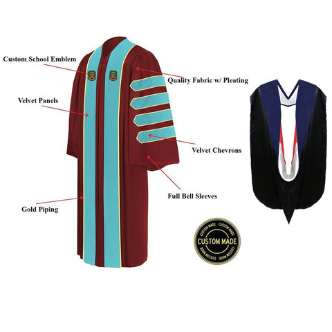 Custom Presidential & Trustee Graduation Gown and Hood Package - Doctorate Regalia